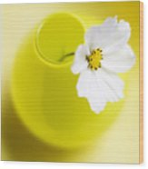 Little Yellow Vase Wood Print by Rebecca Cozart