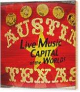 Live Music Mural Of Austin Wood Print
