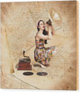 Live Music Pinup Singer Performing On Gig Guide Wood Print