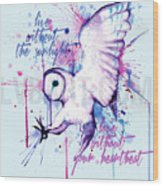 Live Without The Sunlight Owl Wood Print