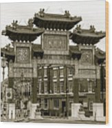 Liverpool Chinatown Arch, Gate Sepia Wood Print
