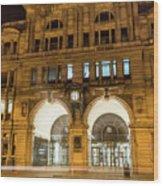 Liverpool Exchange Railway Station By Night Wood Print