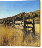 Livery Fence At Dripping Springs Wood Print