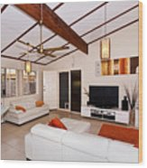 Living Room With Sloping Ceiling Wood Print