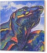 Lizard In The Desert 2 Wood Print