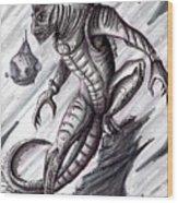 Lizard Warrior Wood Print