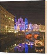Ljubljana At Christmas Wood Print