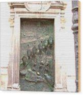 Ljubljana Bronze Church Door Wood Print
