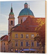 Ljubljana Church And Square Sunset View Wood Print