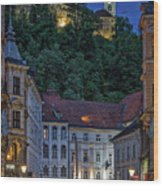 Ljubljana Night Scene - Slovenia Wood Print