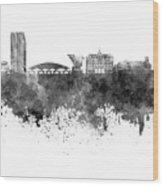 Ljubljana Skyline In Black Watercolor On White Background Wood Print