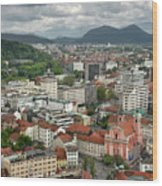 Ljubljana Slovenia With Karawanks, Kamnik Savinja, Limestone Alp Wood Print