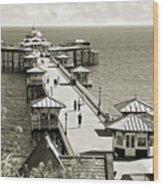 Llandudno Pier North Wales Uk Wood Print
