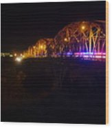 Llano Bridge At Night Wood Print