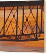 Llano Bridge Reflection Wood Print