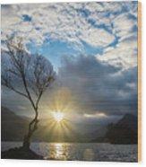 Llyn Padarn Sunburst Wood Print