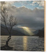 Llyn Padarn Sunrays Wood Print