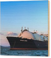 Lng Carrier Grand Aniva At Sunset On The Roads Of The Port Of Nakhodka.  Wood Print
