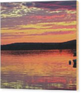 Loan Boat On A River At Sunset Wood Print