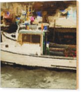 Lobster Boat Stonington Ct Wood Print