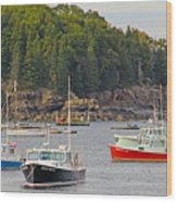 Lobster Boats In Bar Harbor Wood Print by Jack Schultz
