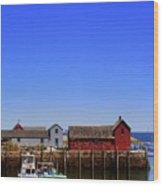 Lobster Boats In Harbor Wood Print