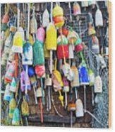 Lobster Buoys And Nets - Maine Wood Print
