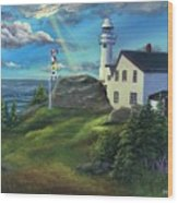 Lobster Cove Head Lighthouse, Rocky Harbour, Nl Wood Print