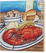 Lobster Dinner Wood Print