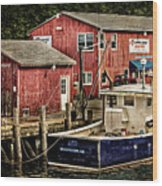 Lobster Market In Boothbay Harbor Wood Print