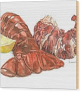 Lobster Tail And Meat Wood Print