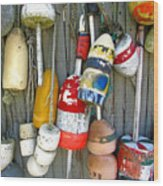 Lobster Trap Buoys 1 Wood Print