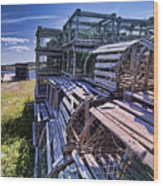 Lobster Traps In The Sun Wood Print