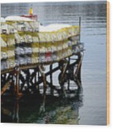 Lobster Traps In Winter Wood Print