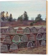 Lobster Traps Wood Print by Jeff Kolker