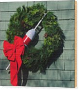 Lobsterman's Christmas Wreath Wood Print