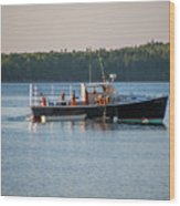 Lobstermen At Work  Wood Print