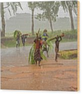 Local People Crossing The Road In Malawi Wood Print