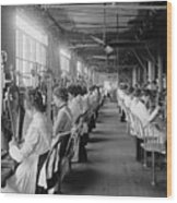Lock And Drill Department Assembly Line Wood Print