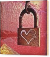 Lock/heart Wood Print