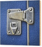 Lock On A Blue Suitcase Wood Print