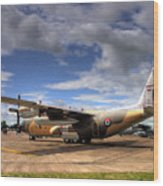 Lockheed C130h Of The Royal Jordanian Airforce. Wood Print by Mike Lester