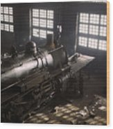 Locomotive Repair Shop - December 1942 Wood Print