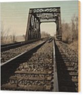 Locomotive Truss Bridge Wood Print