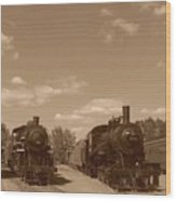 Locomotives In Sepia Wood Print