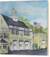 Locust Valley Firehouse Wood Print