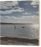 Loe Beach Windsurfers Wood Print