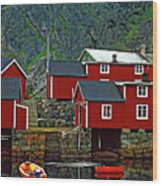 Lofoten Fishing Huts Oil Wood Print
