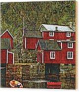 Lofoten Fishing Huts Overlay Version Wood Print