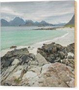 Lofoten Island Beach Scene Wood Print